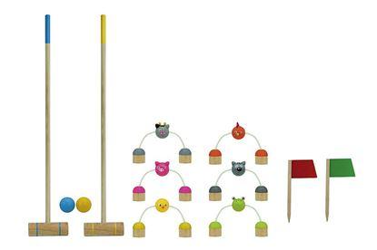 Kriket set, sestavljen 6 ovir, 2 palic, 2 ciljnih zastavic in 2 žogic