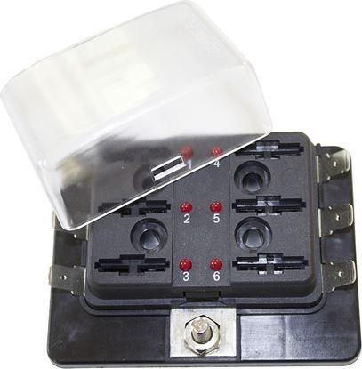 Držalo za varovalke 6 varovalk LED barva črna