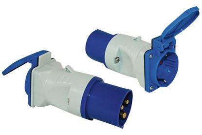Adapter CEE 17 vtič / šuko vtičnica s pokrovom, moder/bel
