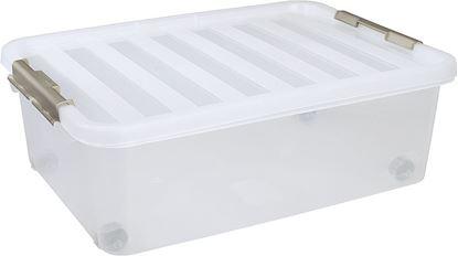 Škatla za shranjevanje z belim pokrovom in kolesci