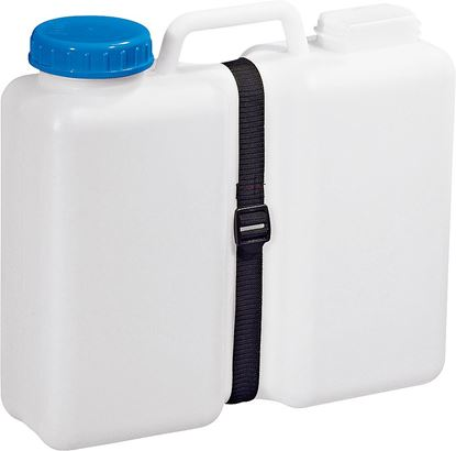 Kanister s širokim grlom Aqua Case z jermenom za pritrditev.